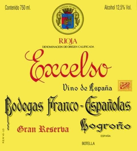 Bodegas Franco-Espanolas Excelso Gran Reserva 1982 Front Label