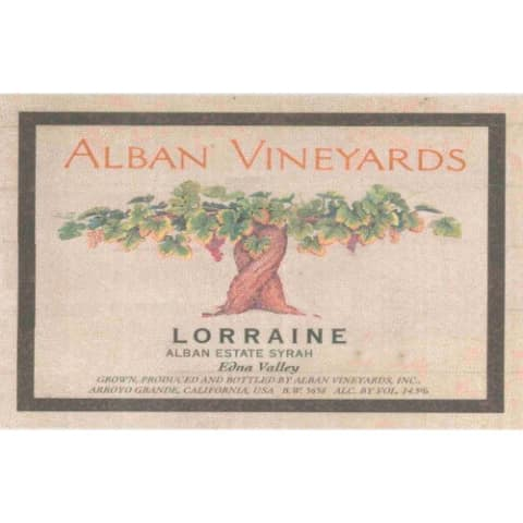 Alban Lorraine Estate Syrah 2005 Front Label