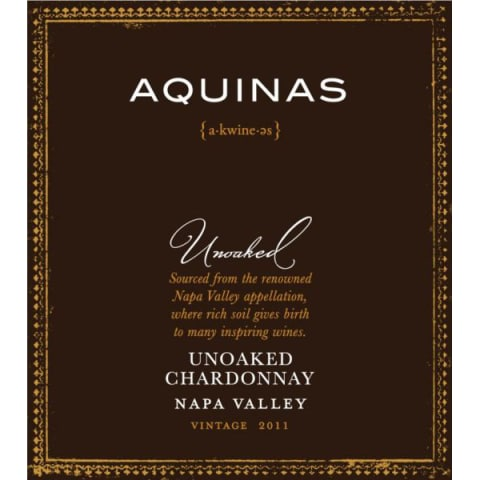 Aquinas Unoaked Chardonnay 2011 Front Label