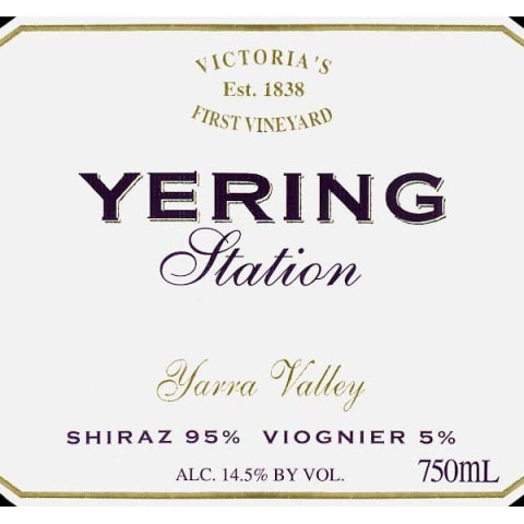 Yering Station Shiraz Viognier 2010 Front Label