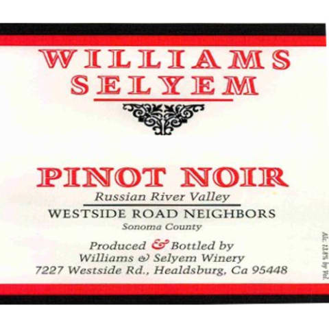 Williams Selyem Westside Road Neighbors Pinot Noir 2012 Front Label