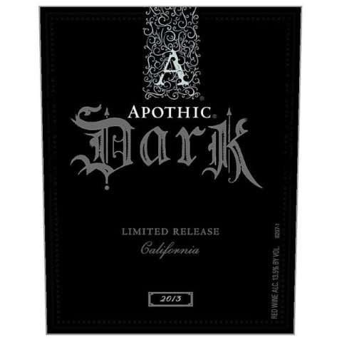 Apothic Dark Red Blend 2013 Front Label