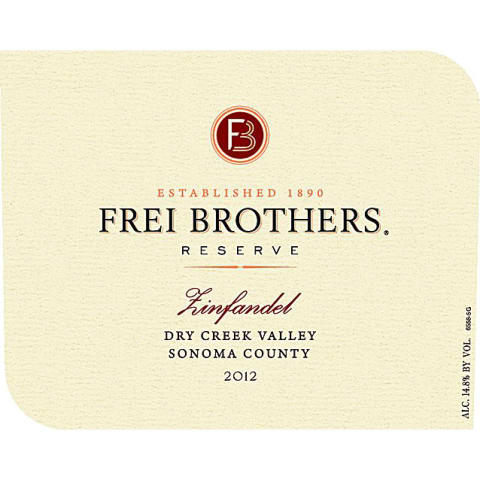 Frei Brothers Reserve Dry Creek Zinfandel 2012 Front Label
