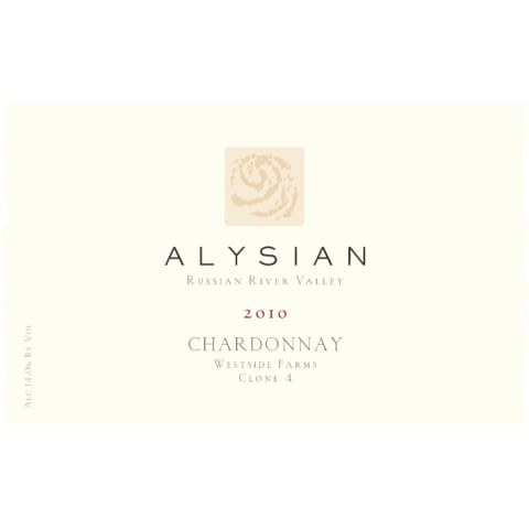 Alysian Westside Farms Chardonnay 2010 Front Label