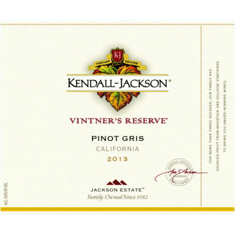 Kendall-Jackson Vintner's Reserve Pinot Gris 2013 Front Label