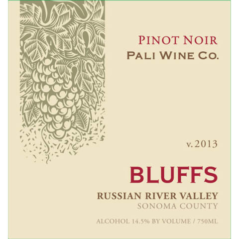 Pali Wine Co Bluffs Pinot Noir 2013 Front Label