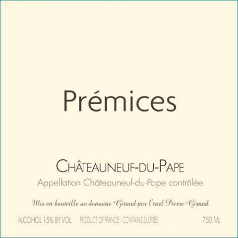 Domaine Giraud Chateauneuf-du-Pape Premices 2013 Front Label