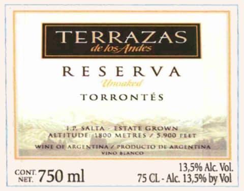 Terrazas De Los Andes Reserva Torrontes 2014