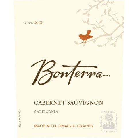 Bonterra Organically Grown Cabernet Sauvignon 2015 Front Label