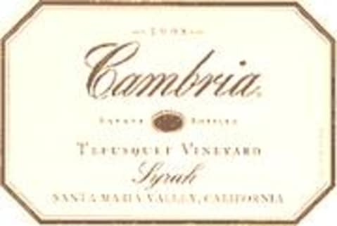 Cambria Tepusquet Vineyard Syrah 1998 Front Label