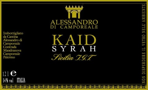 Alessandro di Camporeale Kaid Syrah 2009 Front Label