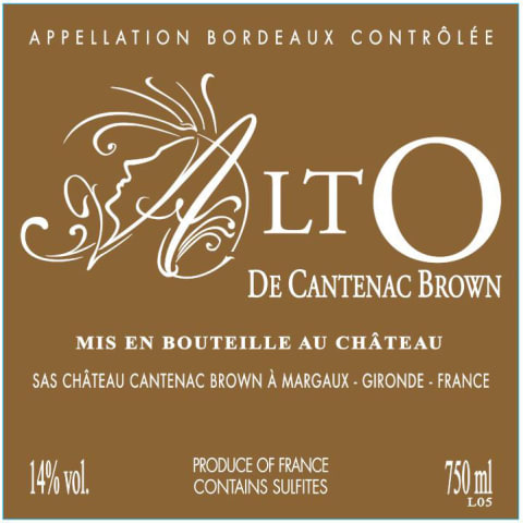 Chateau Cantenac Brown AltO de Cantenac Brown 2014 Front Label