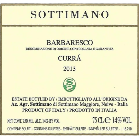 Sottimano Barbaresco Curra 2013 Front Label