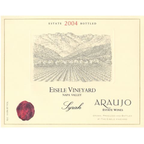 Araujo Eisele Vineyard Syrah (slightly torn label) 2004 Front Label