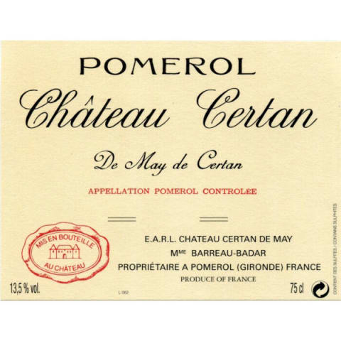 Chateau Certan de May  2016 Front Label