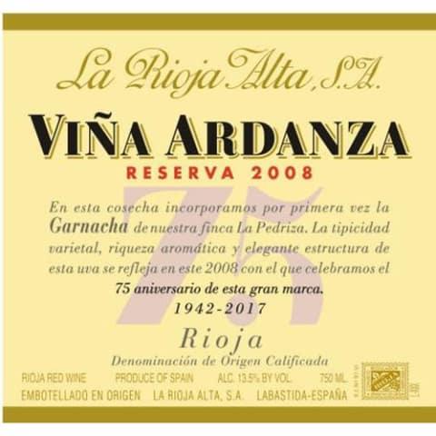 La Rioja Alta Vina Ardanza Reserva 2008   Wine.com