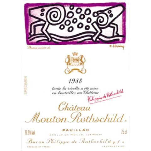 Chateau Mouton Rothschild (top shoulder) 1988 Front Label