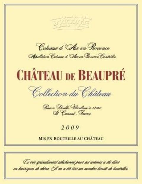 Chateau de Beaupre Coteaux d'Aix en Provence Collection du Chateau Rouge  2009