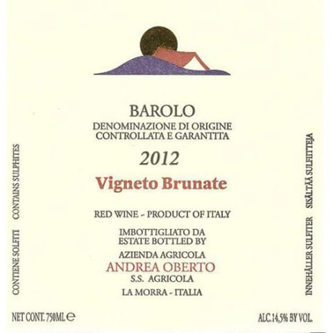 Andrea Oberto Barolo Brunate 2012 Front Label