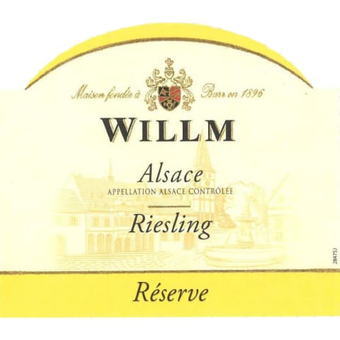 Alsace Willm Riesling Reserve 2016 Front Label