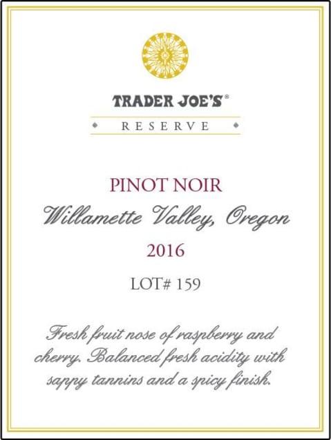 Trader Joe\'s Willamette Valley Reserve Pinot Noir Lot #159 2016 ...