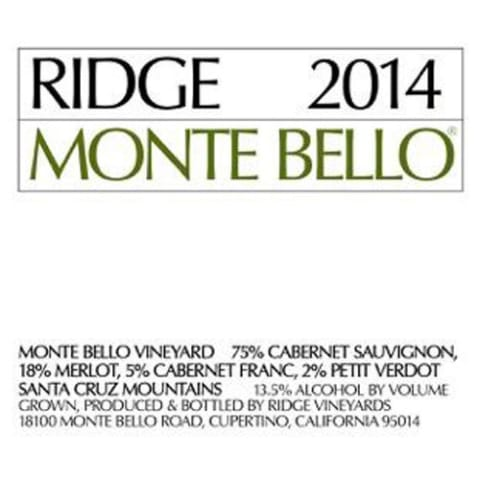 Ridge Monte Bello 2014 Front Label