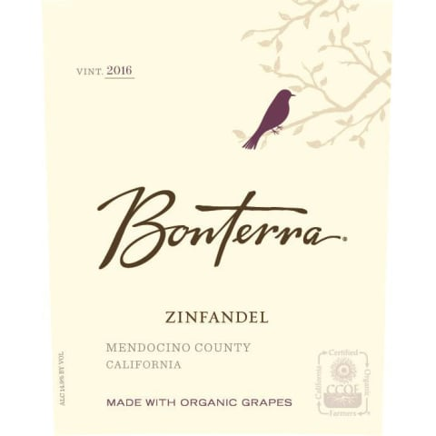 Bonterra Organically Grown Zinfandel 2016 Front Label