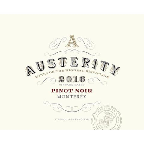 Austerity Pinot Noir 2016 Front Label