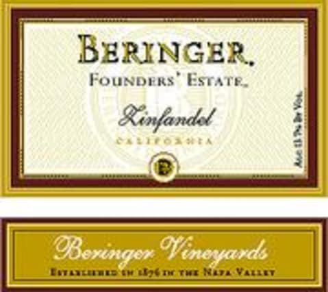 Beringer Founders Estate Zinfandel 1998 Front Label