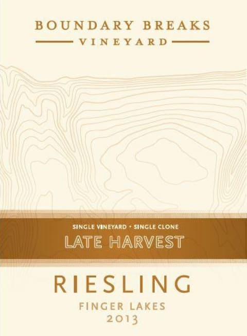 Boundary Breaks Late Harvest No. 90  Riesling 2013 Front Label