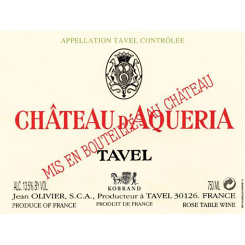 Chateau D'Aqueria Tavel Rose 2017 Front Label