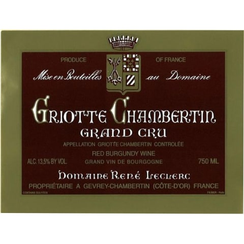Rene Leclerc Griottes Chambertin Grand Cru 1999 Front Label