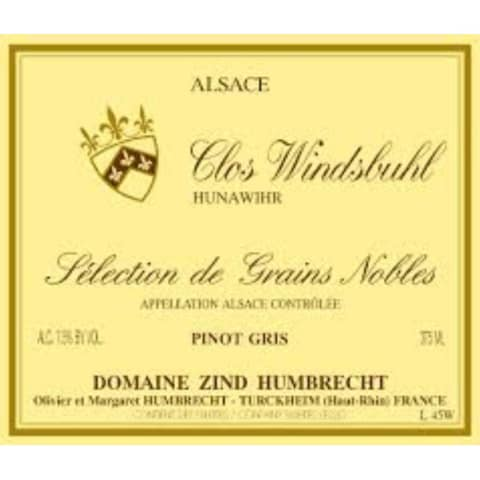 Zind-Humbrecht Clos Windsbuhl Selection des Grains Nobles Pinot Gris (375ml half-bottle) 2001 Front Label