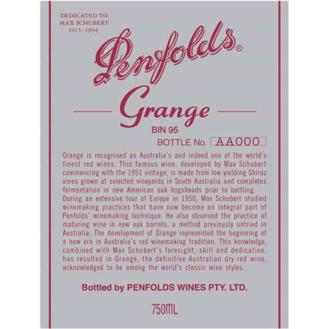 Penfolds Grange 1996 Front Label