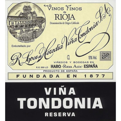 R. Lopez de Heredia Rioja Vina Tondonia Reserva (375ML half-bottle) 2005 Front Label