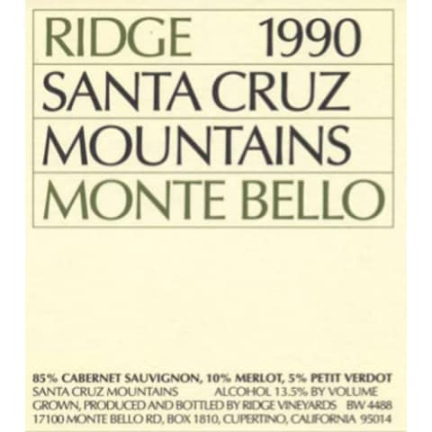 Ridge Monte Bello 1990 Front Label