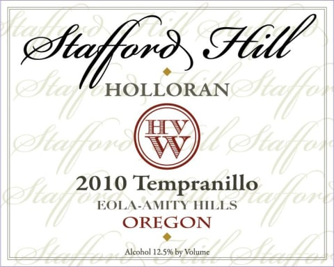 Holloran Vineyard Wines Stafford Hill Tempranillo 2010 Front Label