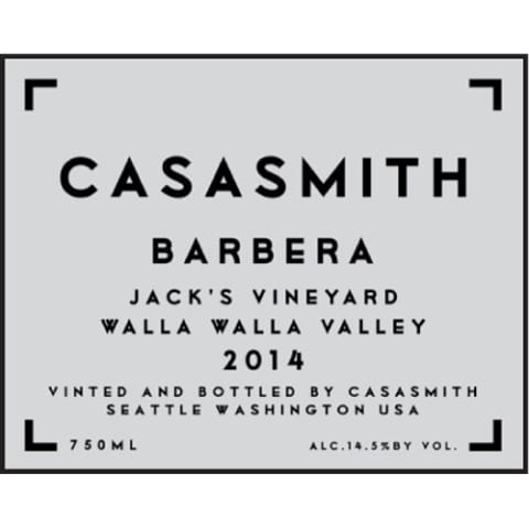 Casa Smith Jack's Barbera 2014 Front Label