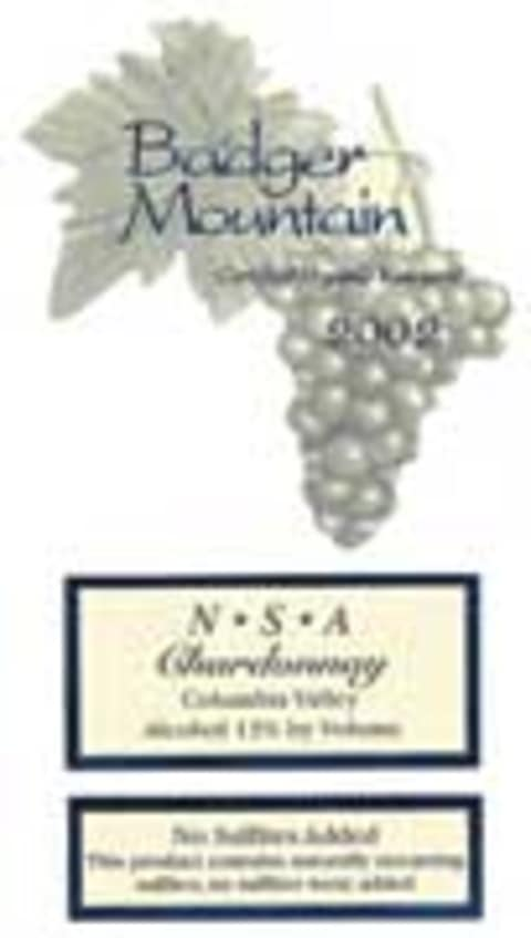 Badger Mountain Chardonnay No Sulfites 2002 Front Label