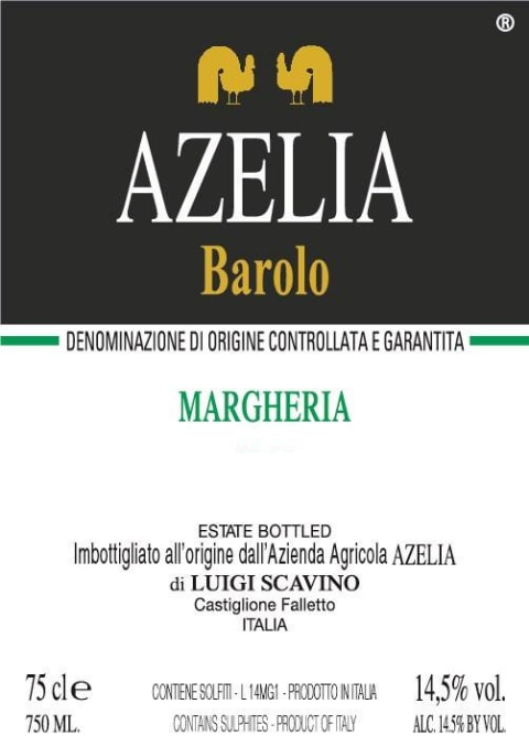 Azelia Margheria Barolo 2012 Front Label