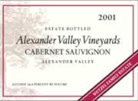 Alexander Valley Vineyards Cabernet Sauvignon (375ML half-bottle) 2001 Front Label