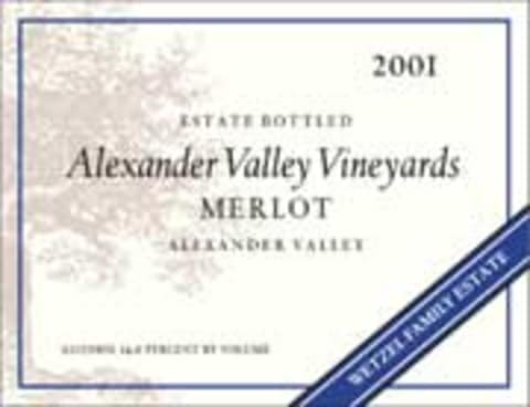 Alexander Valley Vineyards Merlot 2001 Front Label