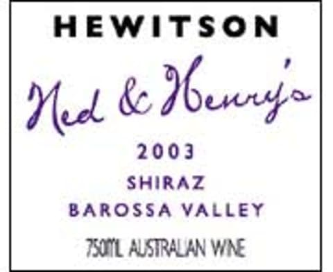 Hewitson Ned and Henry's Shiraz 2003 Front Label