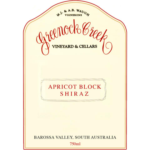 Greenock Creek Apricot Block Shiraz 2002 Front Label