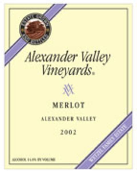 Alexander Valley Vineyards Merlot 2002 Front Label