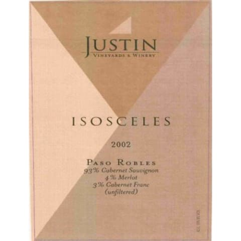 Justin Isosceles 2002 Front Label