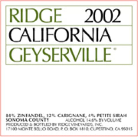 Ridge Geyserville 2002 Front Label