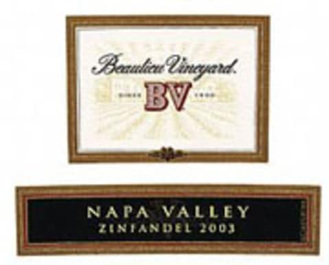 Beaulieu Vineyard Napa Zinfandel 2003 Front Label