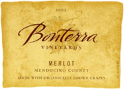 Bonterra Organically Grown Merlot 2003 Front Label