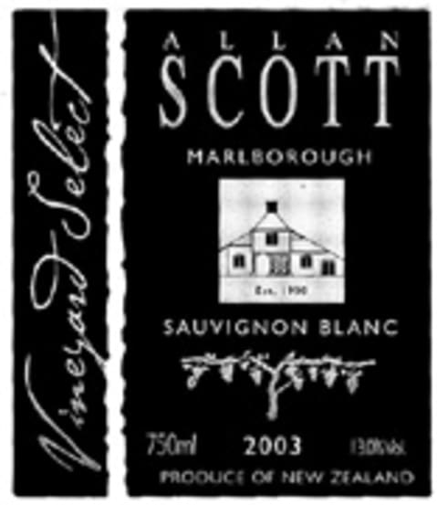 Allan Scott Vineyard Select Sauvignon Blanc 2005 Front Label